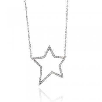 Ingenious silver necklace with medium open pave star