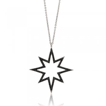 Ingenious silver necklace with open pave starburst pendant