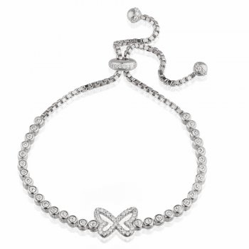 Ingenious silver adjustable tennis bracelet with pave butterfly