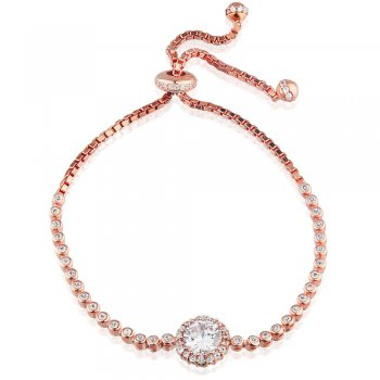 Ingenious rose gold adjustable tennis bracelet with large crystal charm