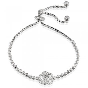 Ingenious silver adjustable tennis bracelet with open pave rose