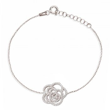 Ingenious silver chain bracelet with open pave rose