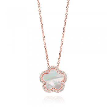 Ingenious rose gold plated necklace with white mother of pearl flower
