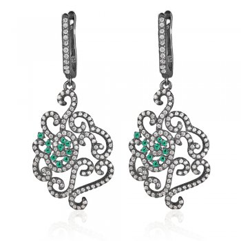 Ingenious black rhodium chandelier earrings with pave flower design