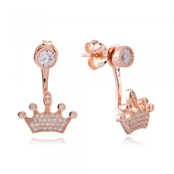 Ingenious rose gold swing earrings with pave crown design