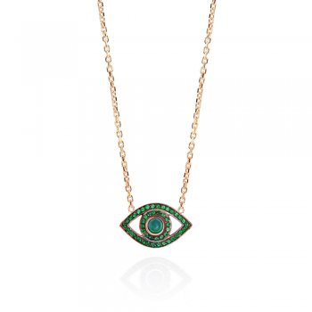 Ingenious Gold necklace with open eye and green cubic zirconia stones