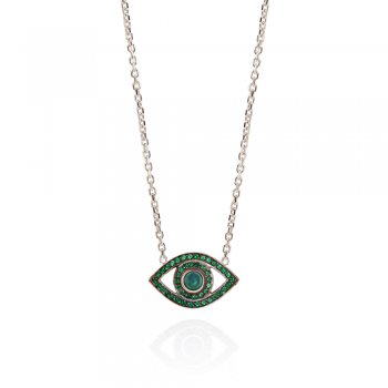 Ingenious Silver necklace with open eye and green cubic zirconia stones