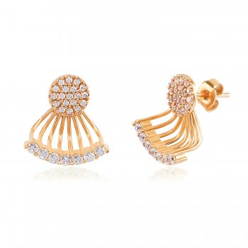 Ingenious Gold ear jacket with fan of cubic zirconia stones