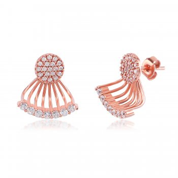Ingenious Rose gold ear jacket with fans of cubic zirconia stones
