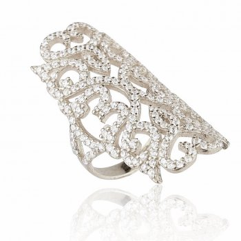 Ingenious Silver filigree ring with heart shapes