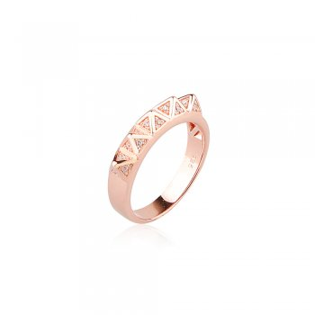 Ingenious Rose gold ring with multi pyramids