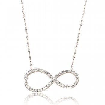Ingenious Silver necklace with large open pave infinity