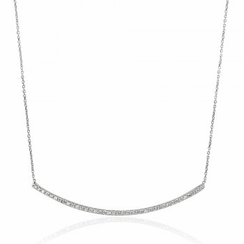 Ingenious Silver necklace with thin curved pave bar