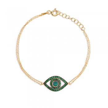 Ingenious Gold bracelet with open eye and green cubic zirconia stones