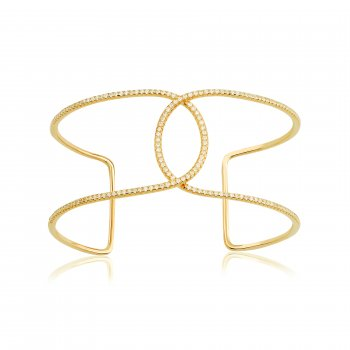 Ingenious Gold adjustable bangle with open oval