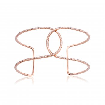 Ingenious Rose gold adjustable bangle with open oval