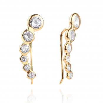 Ingenious gold ear bar with cubic zirconia stones