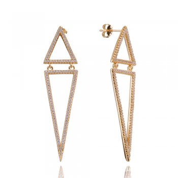 Ingenious Gold earrings with two open pave triangles
