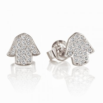 Ingenious Silver earrings with pave hands