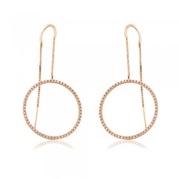 Ingenious Gold threader earring with open pave circle
