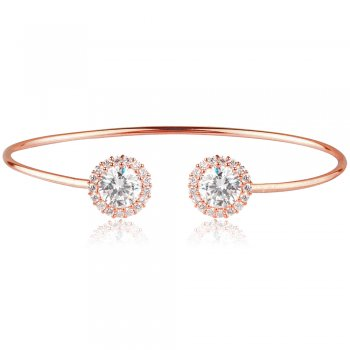 Ingenious Rose gold adjustable bangle with large stone and pave surround