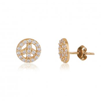 Ingenious Gold peace stud earring