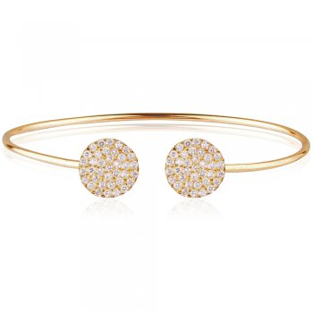 Ingenious Gold adjustable bangle with two pave discs