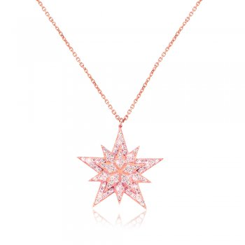 Ingenious rose gold necklace with pave star