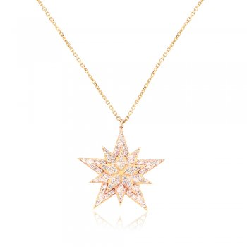 Gold necklace with pave star