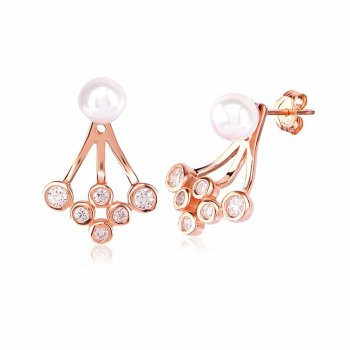Ingenious Rose gold ear jacket with pearl and round cubic zirconia stones