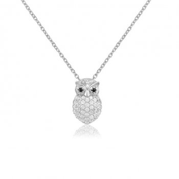 Ingenious silver necklace with small owl charm