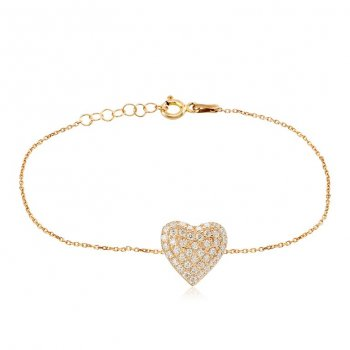 Ingenious Gold bracelet with small pave heart