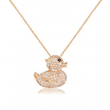 Ingenious gold necklace with duck pendant