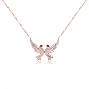 Ingenious rose gold necklace with two doves