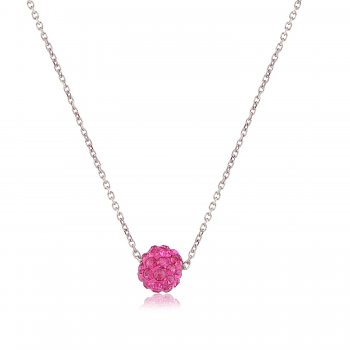 Ingenious Silver necklace with pink crystal ball
