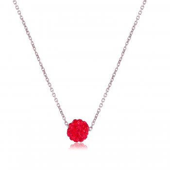 Silver necklace with red crystal ball