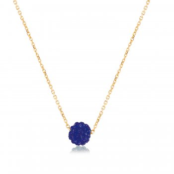 Ingenious Gold necklace with petrol blue crystal ball