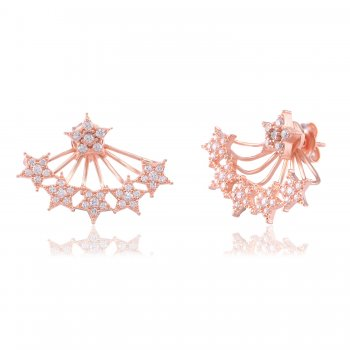 Ingenious Rose gold ear jacket with pave stars