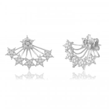 Ingenious Silver ear jacket with pave stars