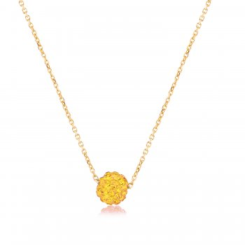 Ingenious Gold necklace with gold crystal ball