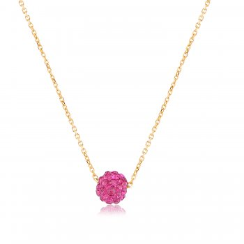 Ingenious Gold necklace with pink crystal ball