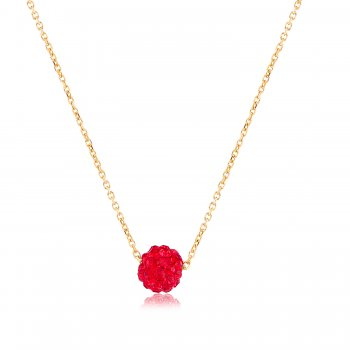 Ingenious Gold necklace with red crystal ball