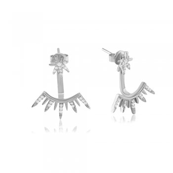 Ingenious Silver swing earrings with pave starburst design