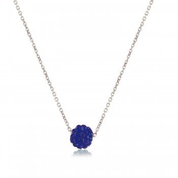 Ingenious Silver necklace with petrol blue crystal ball
