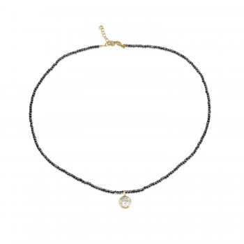 Ingenious Black spinel necklace with rose gold single stone