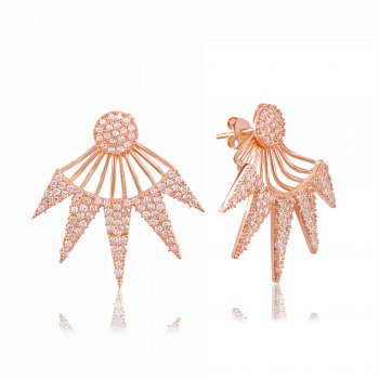 Ingenious Rose gold art deco triangle ear jacket