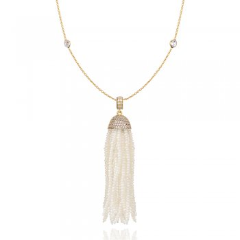 Ingenious Gold necklace with diamond by the yard and fresh water pearl tassle