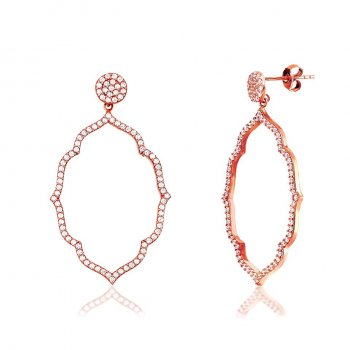 Ingenious Rose gold earrings with open pave shape