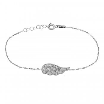 Ingenious Silver bracelet with pave wing