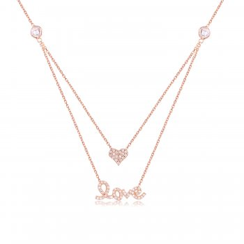 Rose gold double layered love necklace